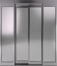 2 panel, centre opening with glass panels
